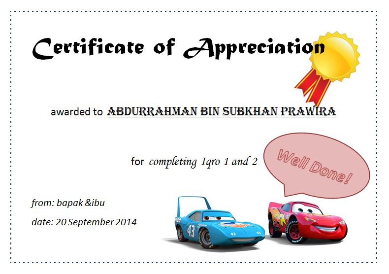Certificate of Appreciation awarded to Abdurrahman for completing his Iqro 2