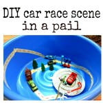 DIY car race scene in a pail