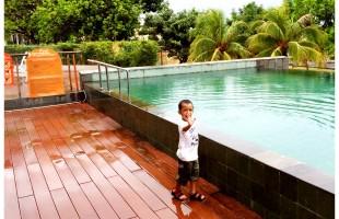 Abdurrahman by the pool at Harris Hotel Batam Center